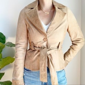 CONTEMPORAIN Tan Leather Belted Jacket S